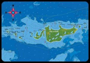 mappa dell'arcipelago colombiano del Rosario al largo delle coste di Cartagena de Indias